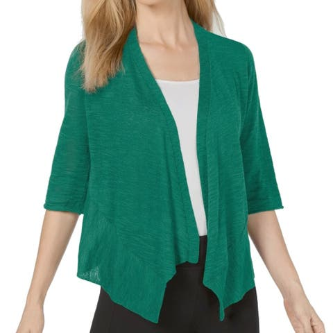 Alfani Womens Sweater Cozumel Green Size Large L Cardigan Open-Front