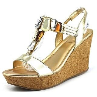 Kenneth Cole Reaction Sole Lites Women Open Toe Synthetic Gold Platform Sandal
