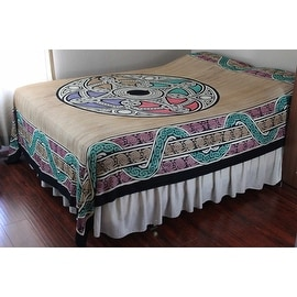 Handmade 100% Cotton Celtic Wheel of Life Tapestry Tablecloth Spread Tan Twin Full Queen King
