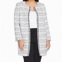 Tahari By ASL White Womens Size 22W Plus Boucle Topper Jacket
