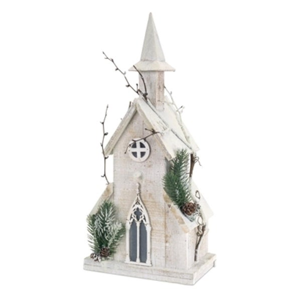 """Set of 2 Pre-Lit Church with Pine and Twigs Christmas Decorations with Clear LED Lights 18.75"""" - WHITE"""