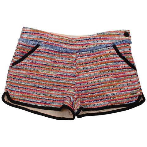 Karl Lagerfeld Girls Shorts Pink Size 10 Tweed Shimmer Fringe-Trim
