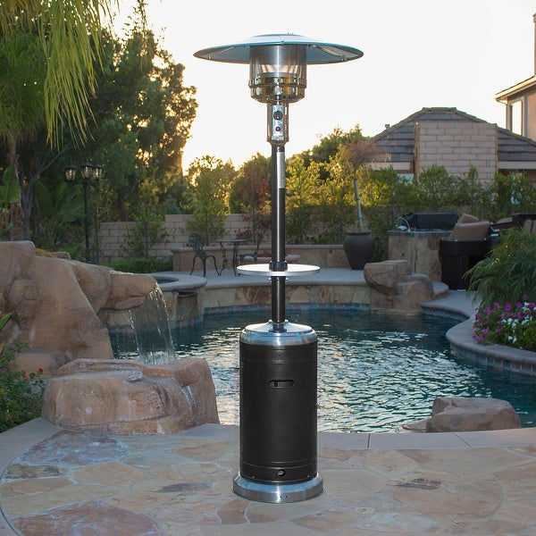 Belleze Commercial Patio Heater Propane Heat With Table U0026amp; Wheels  (48,000 BTU)