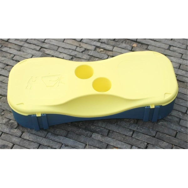 Portable Badminton Court w 2 Rackets Sport Outdoor - Yellow