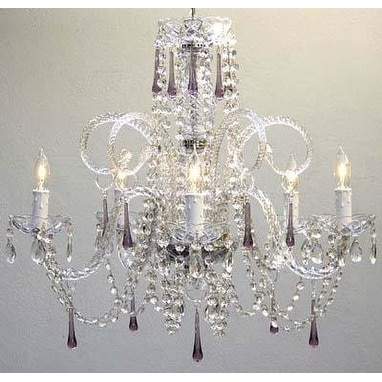 Amethyst Purple Crystal Chandelier H25 x W24
