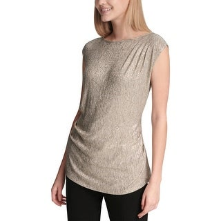 Calvin Klein Womens Pullover Top Shiny Ruched