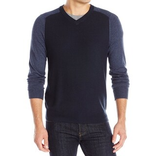Perry Ellis NEW Navy Blue Mens Size Small S Colorblock V-Neck Sweater