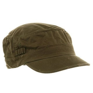 Washed Cotton Fitted Army Cap-Dark Olive