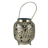 """4"""" Tropicalia Silver and Blue Cut-Out Floral Tea Light Candle Holder"""