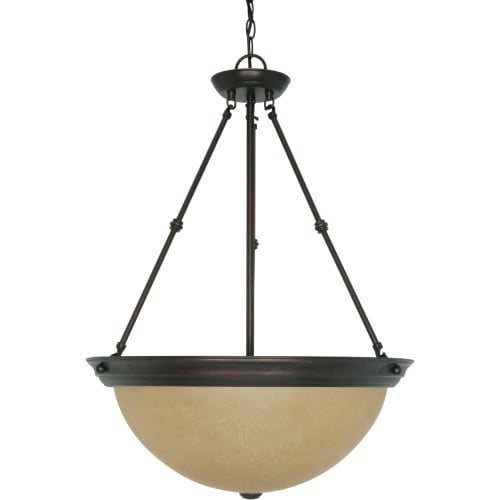 """Nuvo Lighting 60/3113 3 Light 20"""" Wide Pendant with Champagne Washed Linen Glass Shade"""
