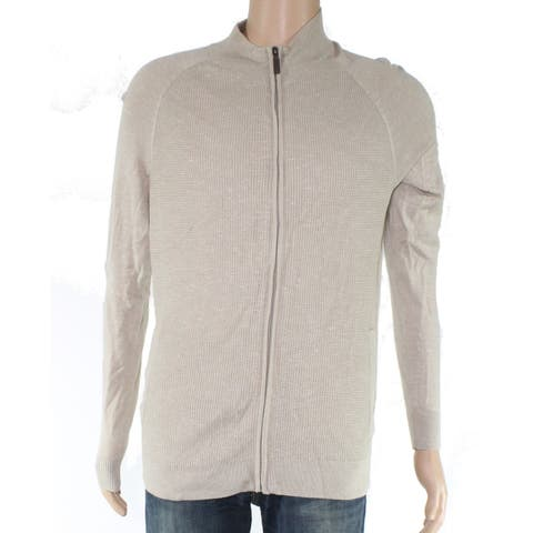 Club Room Mens Sweater Tan Beige Size 2XL Full Zip Textured Knit