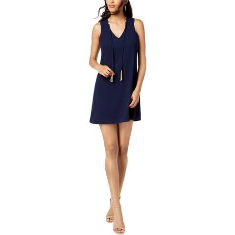 Trina Turk Womens Tassel-Tie Shift Dress, Blue, 2