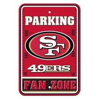 FREMONT DIE Inc San Francisco 49Ers Plastic Parking Sign - Fan Zone Plastic Parking Sign - Fan Zone