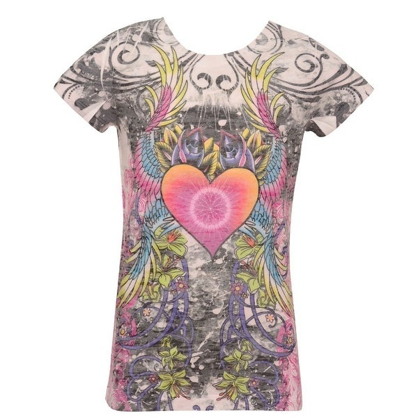 2f338c763 Shop Love My Belly Girls Multi Heart Scroll Print Short Sleeved T-Shirt 7-8  - 7/8 - Free Shipping On Orders Over $45 - Overstock - 28298453