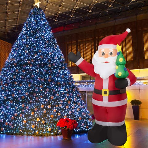 Kinbor 8 Ft Lighted Christmas Inflatable, Santa Clause w/ Small Christmas Tree, Shifting LED Lights Blow Up Outdoor Decorations