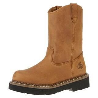 "Georgia Boot Work Boys 6"" Pull On Wellington Leather Brown"