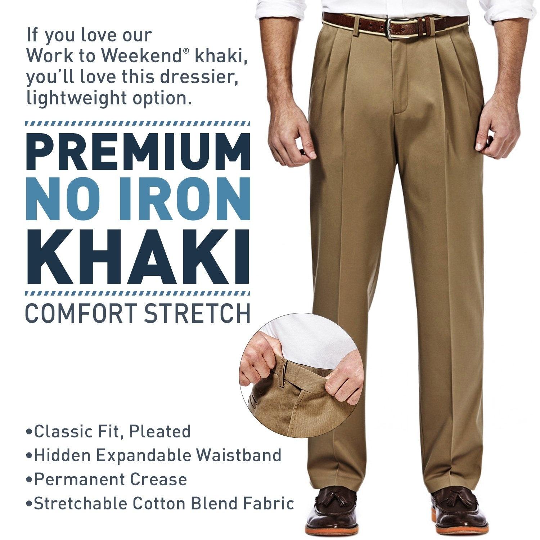 Haggar Mens Big-Tall Premium No Iron Khaki Classic-Fit Expandable-Waist Plain-Front Pant