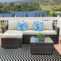 Deals on Patio Furniture 3-piece Resin Wicker Sectional Sofa