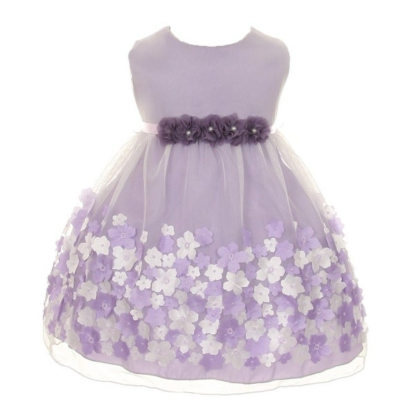 Kids Dream Baby Girls Lavender Taffeta Flowers Sleeveless Easter Dress 3-24M