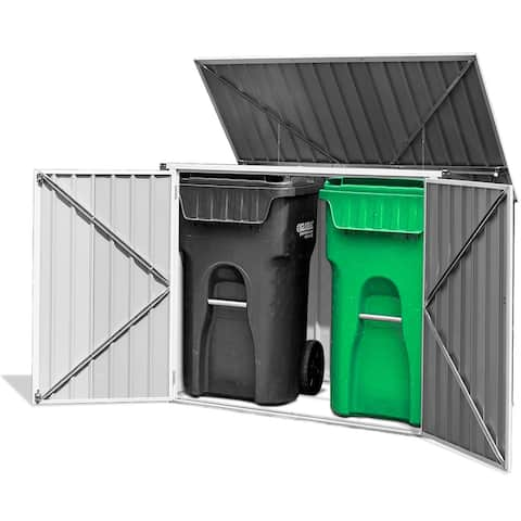 Costway 6x3FT Horizontal Storage Shed 68 Cubic Feet for Garbage Cans
