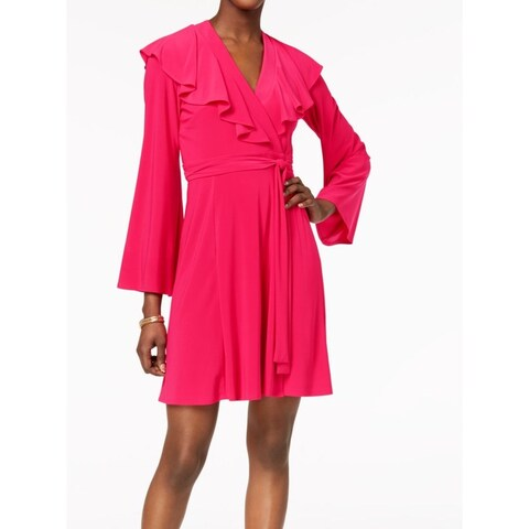 Taylor Pink Fuschia Ruffled Women's Size 8 V-Neck Wrap Dress