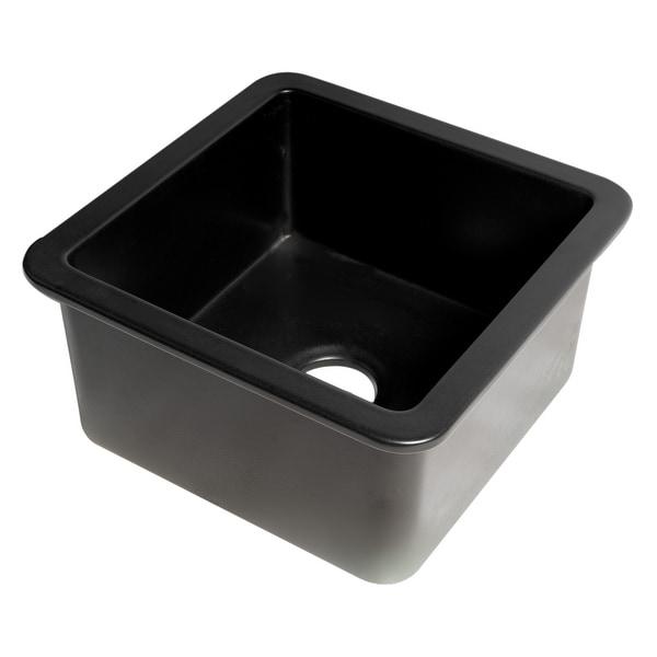 "Black Matte Square 18"" x 18"" Undermount / Drop In Fireclay Prep Sink. Opens flyout."