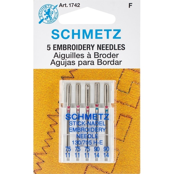Embroidery Machine Needles-Sizes 11/75 (3) & 14/90 (2)