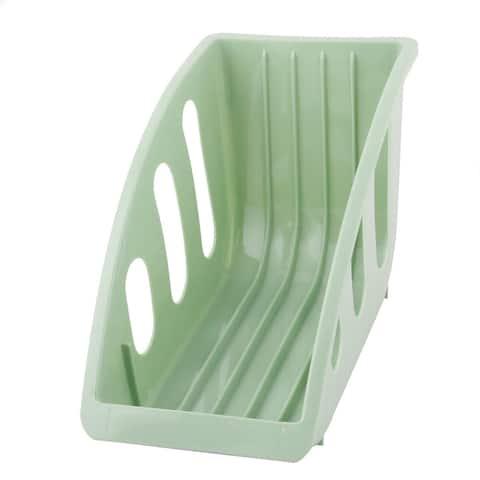 Restaurant Kitchen Plastic Plate Bowl Drying Storage Holder Dish Rack - Green