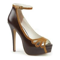 Pin Up Couture Women's Bella 31 Open-Toe Ankle Strap Pump Dark Brown-Maple Faux Leather