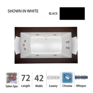"Jacuzzi FUZ7242 CCR 4CW 72"" x 42"" Fuzion Drop-In Luxury Salon Spa Bathtub with 11 Jets, Luxury Controls, Chromatherapy, Heater,"