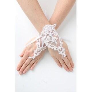Girls White Pearl Adorned Lace Fingerless Communion Flower Girl Gloves