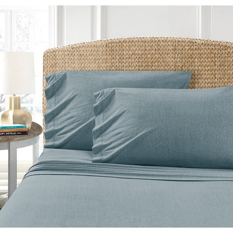 Asher Home Heathered Cotton Blend T-Shirt Jersey Bed Sheet Set