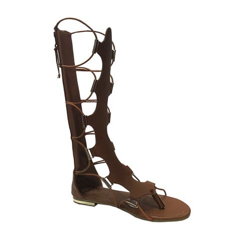 Yoki Women's Anya-50 Knee-High Gladiator Thong Sandals