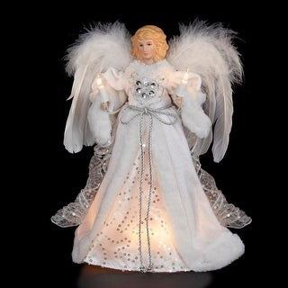 "12"" Divine White and Silver Lighted Angel Christmas Tree Topper - Clear Lights"
