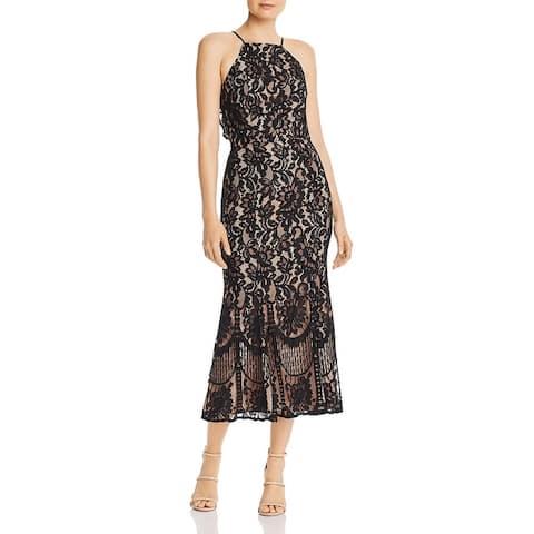 Jarlo Womens Dahlia Formal Dress Lace Overlay Sleeveless - Black
