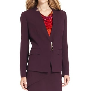 Calvin Klein Womens Petites Collarless Blazer Snap Closure Lined - 12P
