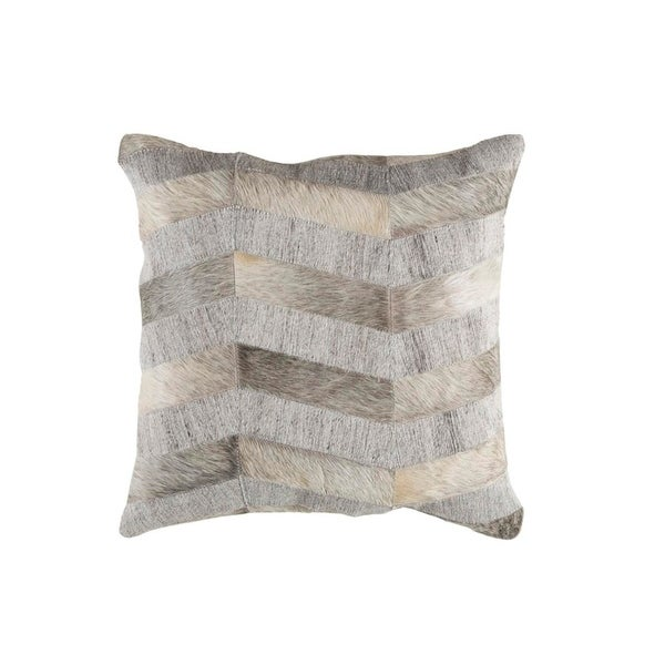 """20"""" Gray and Eggshell White Rustic Animal Patterned Decorative Throw Pillow"""