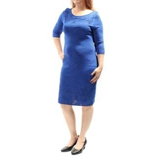 Womens Blue 3/4 Sleeve Knee Length Body Con Wedding Dress Size: L