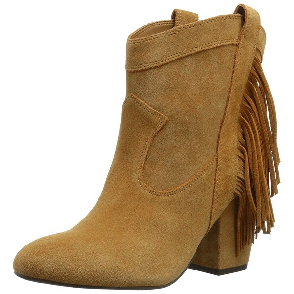 Jessica Simpson Womens WYOMING Leather Almond Toe Ankle Cowboy Boots