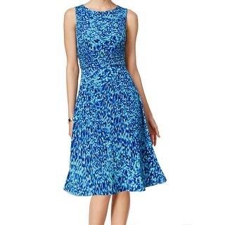 Jessica Howard NEW Blue Women's Size 10 Printed Flare Sheath Dress