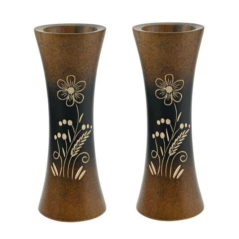 Handmade Bloom Like a Flower Brown Mango Tree Wood Set of 2 Flower Vase (Thailand)