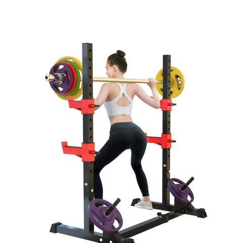 FitHealth Adjustable Squat Rack Dipping Station Barbell Rack Dip Stand Lifting Bench Press Equipment(Only Rack)