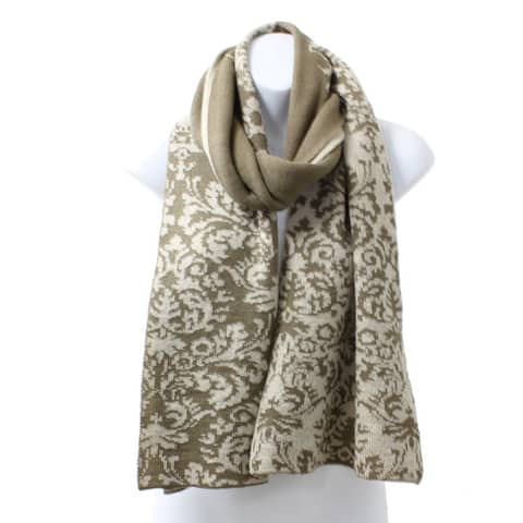 Rerversible Brocade Knit Rectangle Winter Scarf