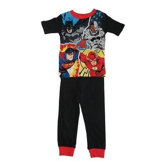 DC Comics Little Boys Black Superheros Short Sleeve 2 Pc Pajama Set 4-6