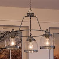 """Luxury Industrial Chic Chandelier, 18""""H x 22""""W, with Art Deco Style, Polished Nickel Finish by Urban Ambiance"""