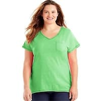 Just My Size 090563031993 Womens X-Temp Short-Sleeve V-Neck Pocket Tee Neon Lime Heather - Size 32