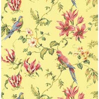 York Wallcoverings CJ2800 Orange and Yellow Book Birds Wallpaper - N/A
