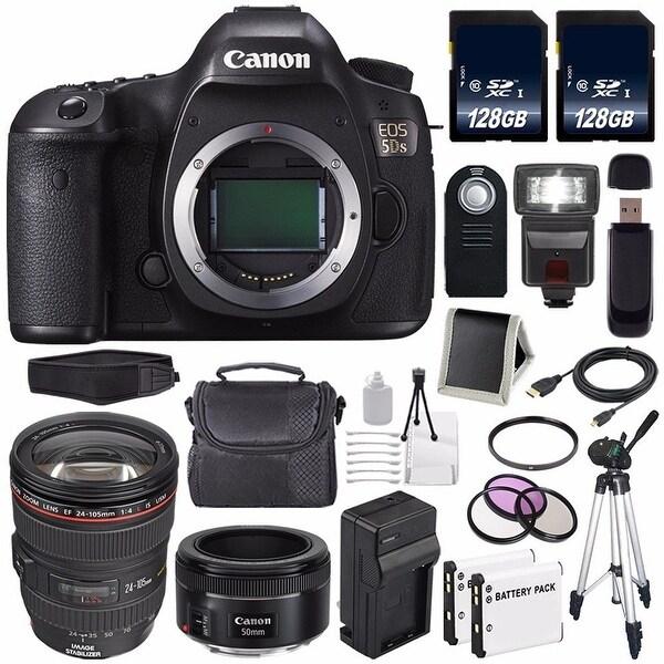 Canon EOS 5DS DSLR Camera (International Model) 0581C002 + Canon EF 24-105mm Lens + EF 50mm f/1.8 STM Lens Bundle