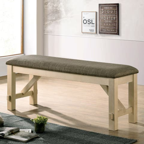 Furniture of America Caduceus Transitional Ivory and Grey Padded Bench