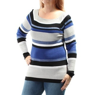 Womens Blue Long Sleeve Square Neck Casual Sweater Size L